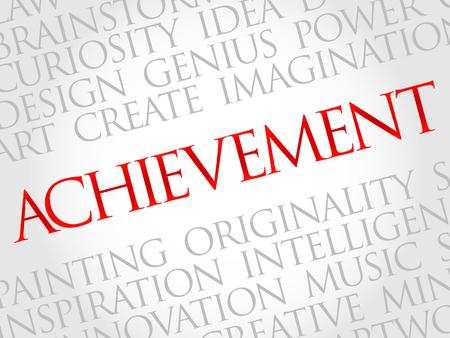 powerful creativity: Achievement word cloud, business concept Illustration