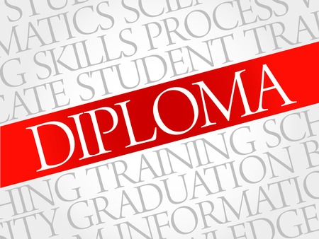 DIPLOMA word cloud, education business concept Illustration