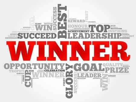 triumphant: Winner word cloud, business concept Illustration