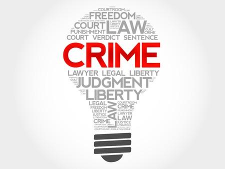 crime: Crime bulb word cloud concept Illustration