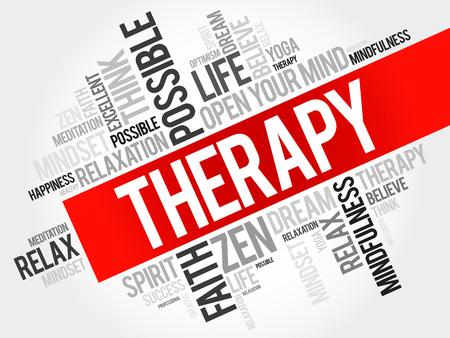 Therapie woord wolk concept