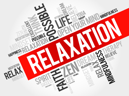 spa collage: Relaxation word cloud concept Illustration