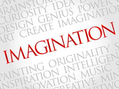 Imaginación nube de la palabra, concepto de negocio