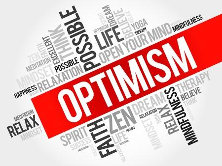 optimismo: Optimismo concepto de nube de palabras