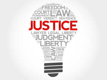 Justice bulb word cloud concept