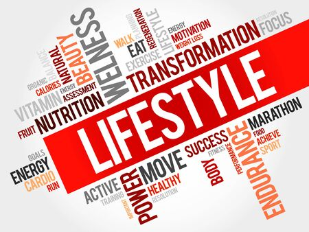 word: LIFESTYLE word cloud, fitness, sport, health concept Illustration