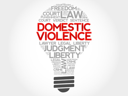 plaintiff: Domestic Violence bulb word cloud concept Illustration