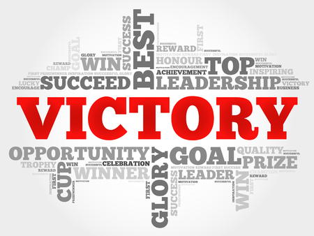creative force: Victory word cloud, business concept