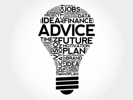 creative potential: ADVICE bulb word cloud, business concept Illustration