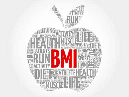 overeating: BMI - Body Mass Index, apple word cloud concept Illustration