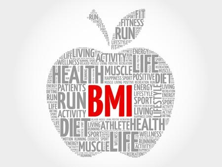 BMI: BMI - Body Mass Index, apple word cloud concept Illustration