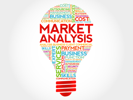 Market Analysis bulb word cloud, business concept