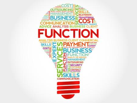 FUNCTION bulb word cloud, business concept Illustration