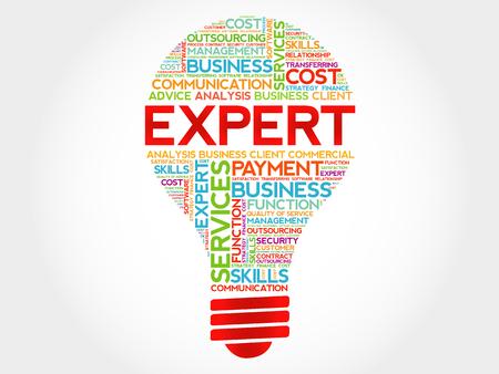 Expert Glühbirne Wortwolke, Business-Konzept