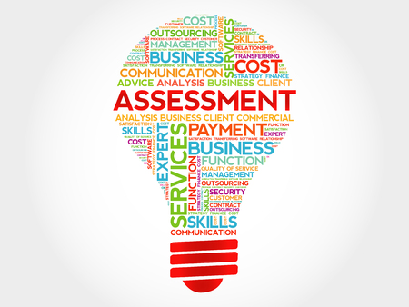 assessment: Assessment bulb word cloud, business concept Illustration