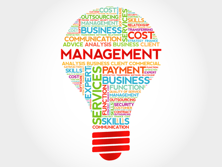 estimating: Management bulb word cloud, business concept