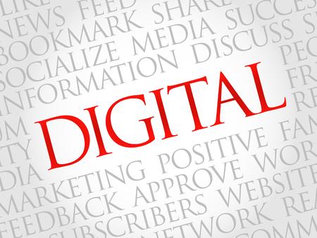 decoding: Digital word cloud, business concept Illustration