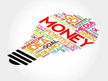 obligee: Money bulb word cloud, business concept