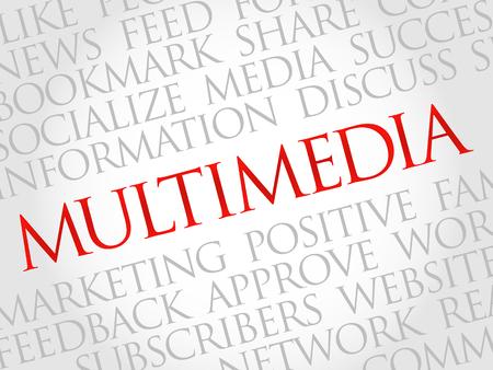 multimedia background: Multimedia word cloud, business concept Illustration