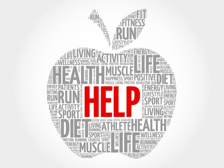 charity and relief work: Help apple word cloud concept