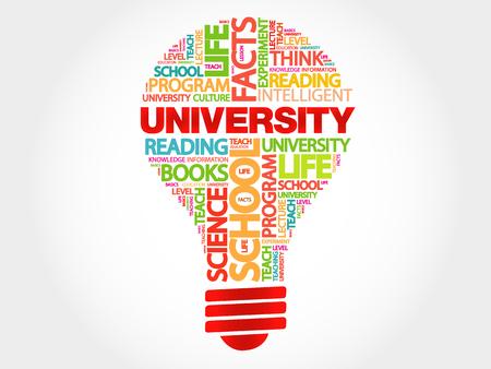 university word: UNIVERSITY bulb word cloud, business concept Illustration