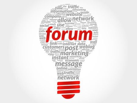 podcasts: Forum bulb word cloud, business concept