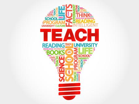 teach: TEACH bulb word cloud, business concept