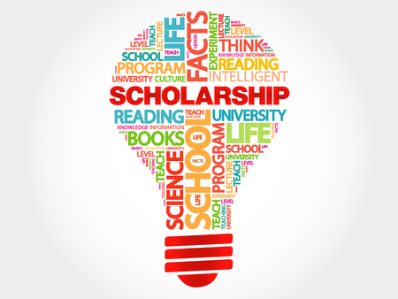 scholarship: Scholarship bulb word cloud, business concept Illustration