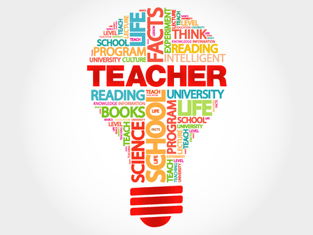 extramural: TEACHER bulb word cloud, business concept Illustration