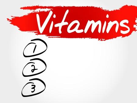 nutrientes: Vitaminas lista en blanco concepto Vectores