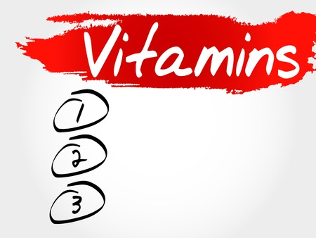 nutrients: Vitamins blank list concept