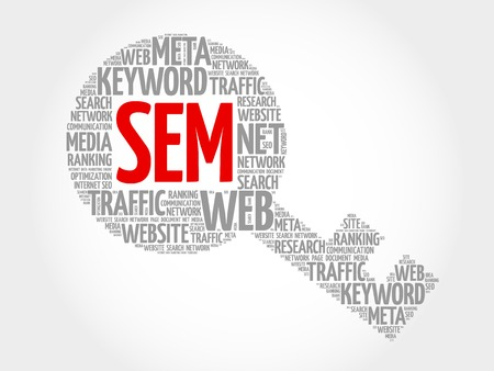 search engine optimized: SEM - Search Engine Marketing Key word cloud, business concept Illustration