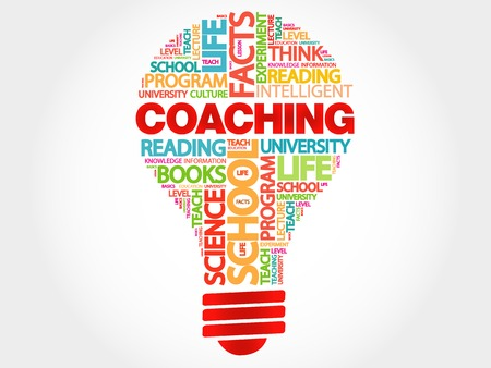 teach: COACHING bulb word cloud, business concept