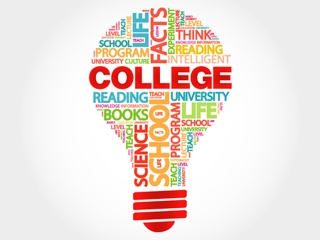 erudition: COLLEGE bulb word cloud, business concept