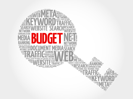 financial condition: BUDGET Key word cloud, business concept Illustration