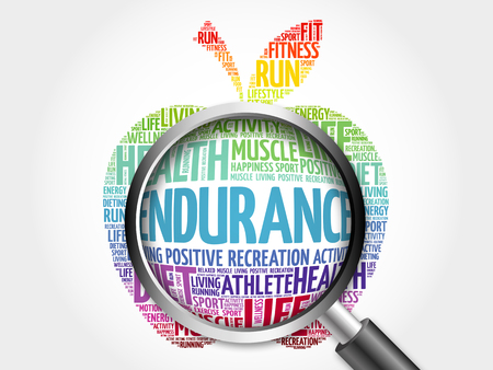 endurance: ENDURANCE apple word cloud with magnifying glass, health concept Stock Photo