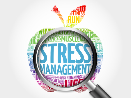 transactional: Stress Management apple word cloud with magnifying glass, health concept Stock Photo
