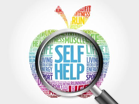 self help: Self Help apple word cloud with magnifying glass, health concept