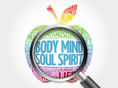 Body Mind Soul Spirit apple word cloud with magnifying glass, health concept Stock Photo