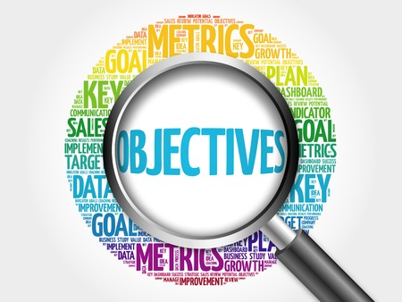relationsip: Objectives word cloud with magnifying glass, business concept