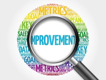 Improvement word cloud with magnifying glass, business concept Foto de archivo