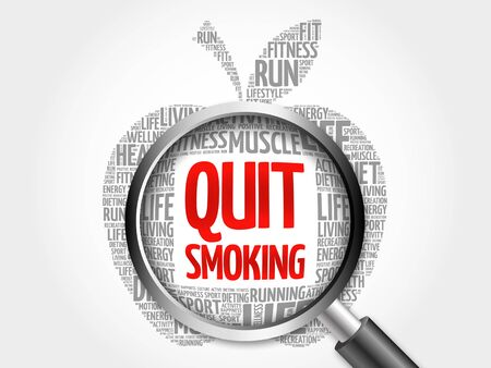 nicotine patch: Quit Smoking apple word cloud with magnifying glass, health concept