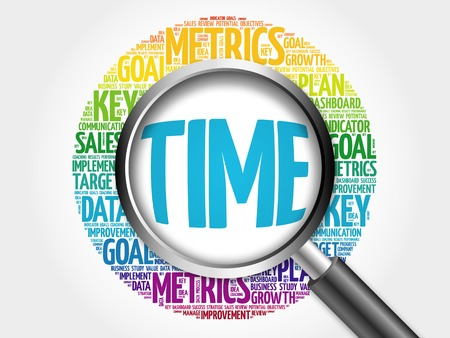 scheduling system: TIME word cloud with magnifying glass, business concept Stock Photo