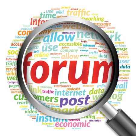 microblogging: FORUM word cloud with magnifying glass, business concept
