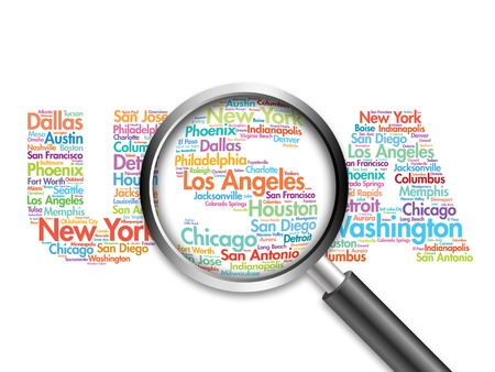 USA travel concept made with words cities names, word cloud with magnifying glass, travel business concept Stock Photo