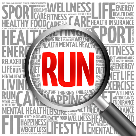 destress: RUN word cloud with magnifying glass, health concept Stock Photo