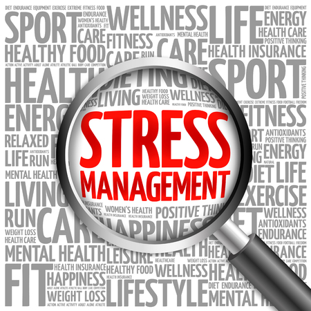 cloud tag: Stress Management word cloud with magnifying glass, health concept