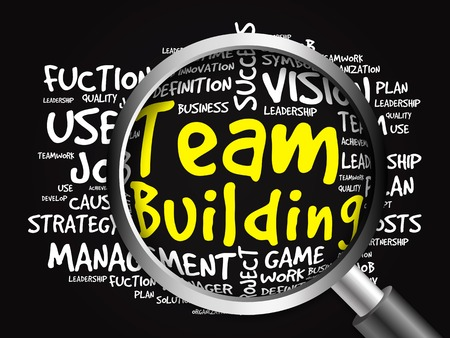 glass building: TEAM BUILDING word cloud with magnifying glass, business concept Stock Photo