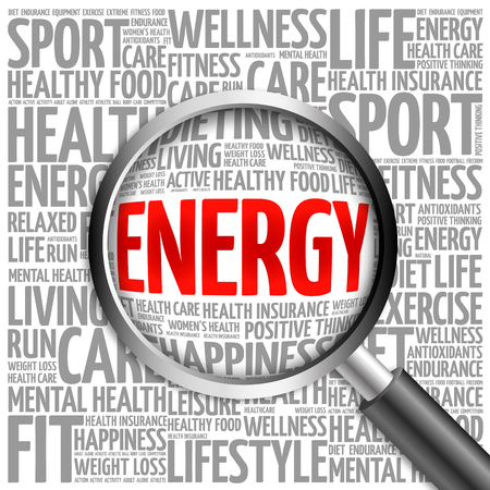 destress: ENERGY word cloud with magnifying glass, health concept