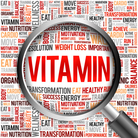 oxidative: VITAMIN word cloud with magnifying glass, health concept Stock Photo